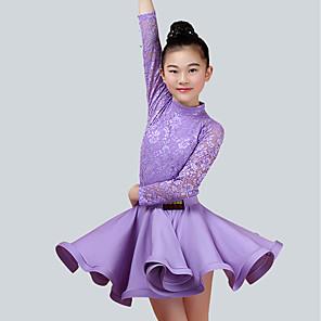 cheap Latin Dancewear-Kids' Dancewear Skirts Lace Performance Long Sleeve Natural Nylon