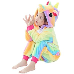 cheap Kigurumi Pajamas-Kid's Kigurumi Pajamas Unicorn Flying Horse Pony Onesie Pajamas Flannel Fabric Purple / Yellow / Pink Cosplay For Boys and Girls Animal Sleepwear Cartoon Festival / Holiday Costumes