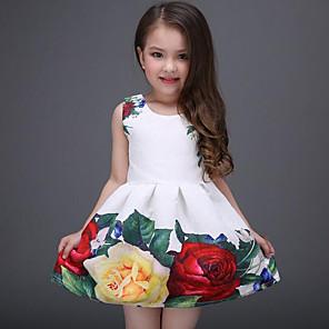 cheap Girls' Dresses-Kids Girls' Sweet Daily Holiday Floral Print Sleeveless Dress White