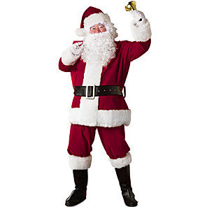 cheap Movie & TV Theme Costumes-Santa Suit Santa Claus Cosplay Costume Christmas Party Supplies Men's Christmas Christmas Halloween Festival / Holiday Polyester Red Men's Carnival Costumes Patchwork / Coat / Pants / Gloves / Belt