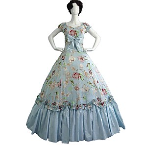 cheap Historical & Vintage Costumes-Rococo Victorian Costume Party Costume Masquerade LightBlue Vintage Cosplay Cotton Fabric Pure Cotton Short Sleeve Cold Shoulder Ankle Length / Floral