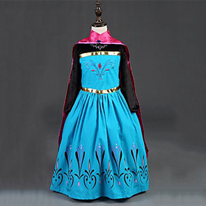cheap Movie & TV Theme Costumes-Princess Fairytale Anna Dress Cloak Flower Girl Dress Kid's Girls' A-Line Slip Dresses Cover Up Christmas Halloween Masquerade Festival / Holiday Silk / Cotton Blend Red Carnival Costumes Color Block