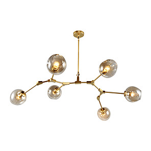 cheap Globe Design-6-Light 6-Head Northern Europe Vintage Golden Chandelier Glass Molecules Pendant Lights Living Room Dining Room Painted Finish