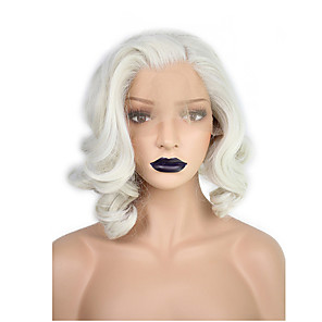 cheap Synthetic Lace Wigs-Synthetic Lace Front Wig Wavy Water Wave Kardashian Water Wave Wavy Bob Pixie Cut Lace Front Wig Blonde Short Medium Length White Synthetic Hair Women's Natural Hairline Side Part Blonde White
