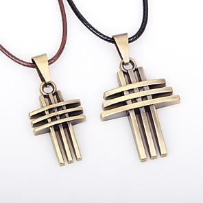 cheap Pendant Necklaces-Couple's Pendant Necklace Cross Vintage Leather Alloy Bronze Necklace Jewelry 2pcs For Going out Bar