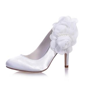 Mujer Zapatos Encaje Primavera / Verano Pump Básico Zapatos de boda Tacón Cono Punta cerrada Pajarita Blanco / Boda / Fiesta y Noche NiZhqsdD