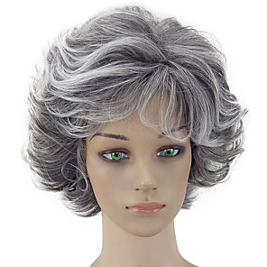cheap Synthetic Trendy Wigs-Synthetic Wig Curly Curly Layered Haircut Wig Short Grey Synthetic Hair Women's Gray hairjoy