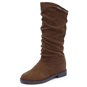 cheap Women's Boots-Women's Boots Low Heel Nubuck leather Mid-Calf Boots Snow Boots Winter Black / Brown / Wine / EU39
