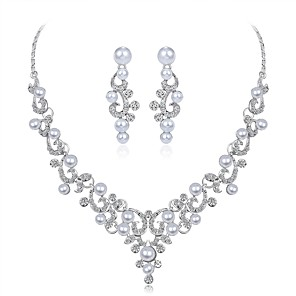 cheap Jewelry Sets-Women's Jewelry Set Leaf Flower Ladies Elegant Imitation Pearl Zircon Silver Plated Earrings Jewelry Silver For Wedding Evening Party Masquerade Engagement Party Prom Promise