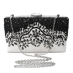 cheap Clutches & Evening Bags-Women's Crystals / Embroidery Polyester / Metal Clutch Black