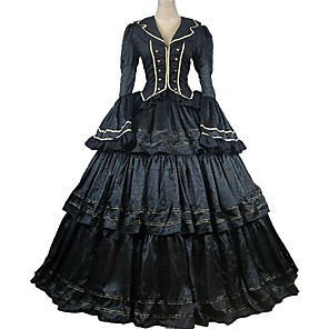 cheap Historical & Vintage Costumes-Rococo Victorian 18th Century Dress Party Costume Masquerade Satin Costume Black Vintage Cosplay Party Prom Long Sleeve Ankle Length Ball Gown Plus Size Customized