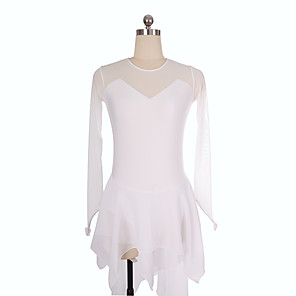 cheap Ice Skating Dresses , Pants & Jackets-Figure Skating Dress Women's Girls' Ice Skating Dress White Spandex Inelastic Training Competition Skating Wear Solid Colored Long Sleeve Ice Skating Figure Skating