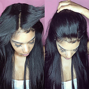 cheap Human Hair Wigs-Virgin Human Hair Unprocessed Human Hair Lace Front Wig Middle Part Free Part Kardashian style Brazilian Hair Straight Natural Black Wig 130% Density 8-30 inch with Baby Hair For Black Women
