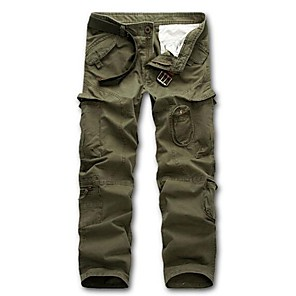 cheap Hiking Trousers & Shorts-Men's Hiking Cargo Pants Solid Color Outdoor Multi-Pocket Cotton Pants / Trousers Black Army Green Dark Green Dark Gray Khaki Fishing Hiking Camping M L XL XXL XXXL