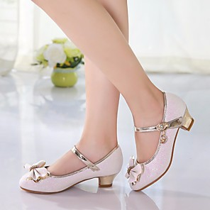 cheap Clutches & Evening Bags-Girls' Tiny Heels for Teens PU Heels Little Kids(4-7ys) / Big Kids(7years +) Bowknot White / Pink Spring / TR / EU37