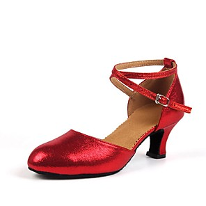 cheap Latin Shoes-Women's Dance Shoes Modern Shoes Ballroom Shoes Heel Customized Heel Customizable Red / Gold / Indoor