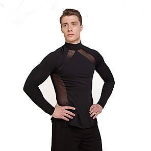 cheap Latin Dancewear-Latin Dance Top Ruffles Men's Performance Long Sleeve Natural Tulle