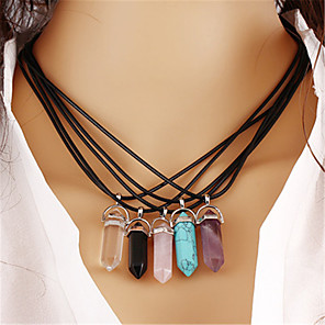cheap Necklaces-Women's Unisex Crystal Pendant Necklace Chain Necklace Vintage Ethnic Fashion energy Crystal Leather Stone Transparent White Black Purple Yellow Necklace Jewelry One-piece Suit For Party Birthday