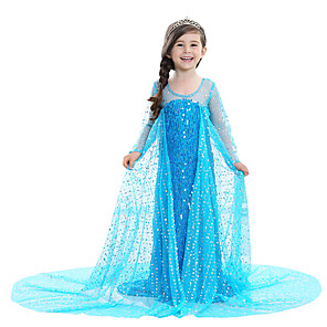 cheap Movie & TV Theme Costumes-Princess Fairytale Elsa Dress Flower Girl Dress Kid's Girls' A-Line Slip Dresses Birthday Christmas Halloween Masquerade Festival / Holiday Elastane Pink / Blue / White Carnival Costumes Sequin