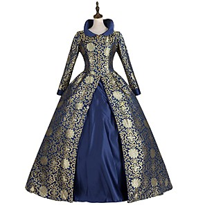 cheap Historical & Vintage Costumes-Rococo Victorian Dress Party Costume Masquerade Japanese Cosplay Costumes Purple / Green / Royal Blue Floral Vintage Long Sleeve Floor Length