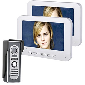 cheap Video Door Phone Systems-MOUNTAINONE 7 Inch TFT 2 Monitors Video Door Phone Doorbell Intercom Kit 1-Camera LCD Display Monitoring Night Vision with HD 700TVL Camera Wall Mounting Hands-free