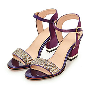 Women's Shoes PU Spring Fall Comfort Novelty Sandals Chunky Heel Open Toe  Rhinestone Buckle for Wedding