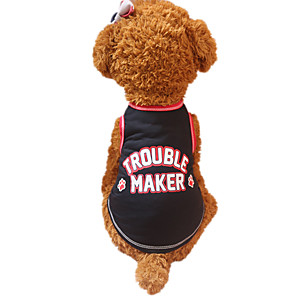 cheap Micro Cameras-Dog Vest Dog Clothes Breathable Black Red Costume Cotton Letter & Number Fashion XS S M L