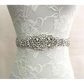 cheap Party Sashes-Silk Like Satin Wedding / Special Occasion Sash With Rhinestone Women's Sashes