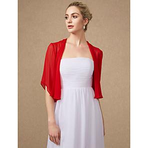 cheap Wedding Veils-Half Sleeve Shrugs Chiffon Wedding / Party / Evening Women's Wrap With