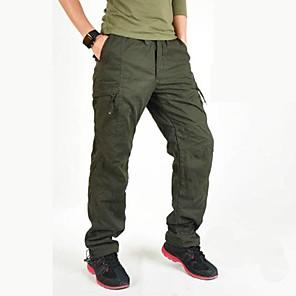 cheap Hiking Trousers & Shorts-Men's Hiking Cargo Pants Solid Color Winter Outdoor Windproof Fleece Lining Multi-Pocket Wear Resistance Cotton Pants / Trousers Black Army Green Grey Green Hiking Climbing Multisport M L XL XXL XXXL