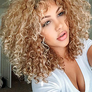 cheap Synthetic Lace Wigs-Synthetic Wig Curly Curly With Bangs Wig Blonde Medium Length Blonde Synthetic Hair Women's Side Part With Bangs Blonde