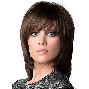cheap Synthetic Trendy Wigs-Synthetic Wig Straight Straight Layered Haircut Wig Medium Length Dark Brown / Medium Auburn Synthetic Hair Women's Brown