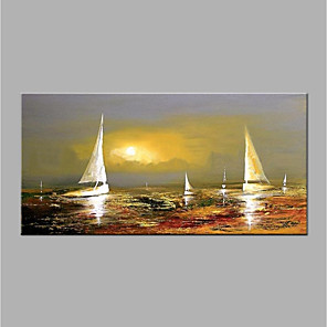 cheap Oil Paintings-Oil Painting Hand Painted - Abstract Modern Canvas / Rolled Canvas