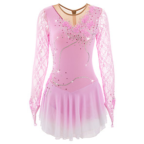 cheap Movie & TV Theme Costumes-Figure Skating Dress Women's Girls' Ice Skating Dress Dark red sky blue Violet Flower Halo Dyeing Spandex High Elasticity Competition Skating Wear Thermal / Warm Breathable Handmade Classic Fashion