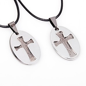 cheap Pendant Necklaces-Couple's Pendant Necklace Cross Ladies Korean Hip-Hop Stainless Steel Leather Silver Necklace Jewelry 2pcs For Going out Valentine