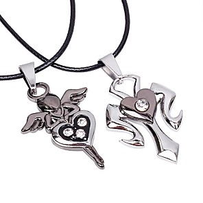 cheap Pendant Necklaces-Couple's Pendant Necklace Cross Heart Fashion Stainless Steel Leather Silver Necklace Jewelry 2pcs For Street Going out