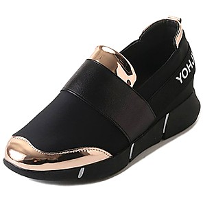 cheap Women's Athletic Shoes-Women's Athletic Shoes Flat Heel Round Toe PU Comfort Walking Shoes Fall / Winter Black / Gold