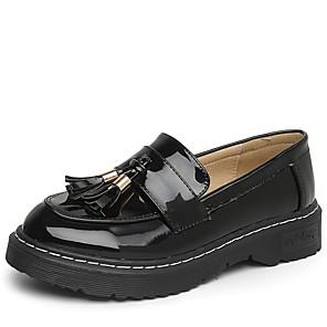 Mujer Zapatos Cuero de Napa Primavera verano Confort Zapatos de taco bajo y Slip-On Tacón Bajo Dedo redondo Pajarita Negro / Color Camello LunoZ