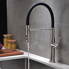 cheap Kitchen Faucets-Kitchen faucet - Single Handle One Hole Nickel Brushed Pull-out / Pull-down Centerset Traditional Kitchen Taps