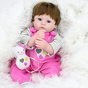 cheap Reborn Doll-NPKCOLLECTION 18 inch NPK DOLL Reborn Doll Girl Doll Baby Girl lifelike Cute Hand Made Child Safe Non Toxic Cloth 3/4 Silicone Limbs and Cotton Filled Body 45cm with Clothes and Accessories for