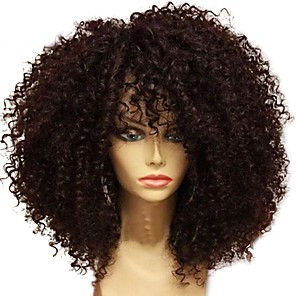 cheap 4 Bundles Human Hair Weaves-Human Hair Unprocessed Human Hair Glueless Lace Front Lace Front Wig Middle Part style Brazilian Hair Curly Afro Curly Wig 130% Density with Baby Hair Natural Hairline 100% Virgin Unprocessed