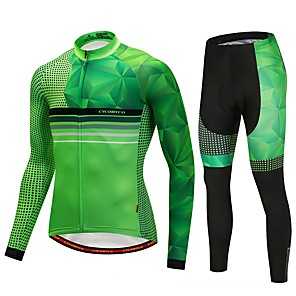 cheap Cycling Jersey & Shorts / Pants Sets-CYCOBYCO Men's Long Sleeve Cycling Jersey with Tights - Green Bike Pants / Trousers Jersey Tights 3D Pad Quick Dry Reflective Strips Sports Lycra Dots Mountain Bike MTB Road Bike Cycling Clothing