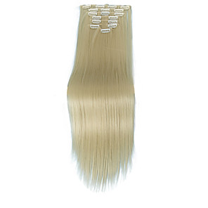 cheap Synthetic Extensions-Human Hair Extensions Straight Synthetic Hair Hair Extension Clip In Daily