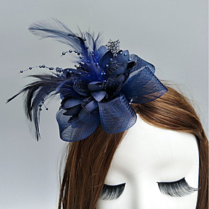 cheap Fascinators-Feather / Net Fascinators / Flowers / Hats with Feathers / Fur / Floral 1pc Wedding / Special Occasion / Horse Race Headpiece