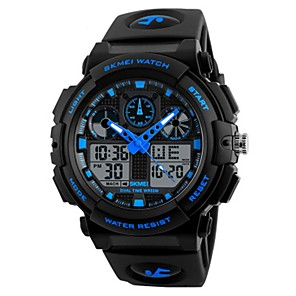 cheap Sport Watches-SKMEI Boys' Wrist Watch Digital Quilted PU Leather Black 50 m Water Resistant / Waterproof Calendar / date / day Stopwatch Analog - Digital Casual Fashion - Red Green Blue / Noctilucent