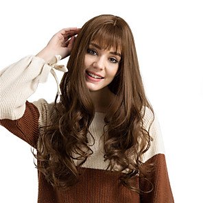 cheap Synthetic Trendy Wigs-Synthetic Wig Deep Wave Deep Wave With Bangs Wig Very Long Light Brown Synthetic Hair Women's Brown MAYSU