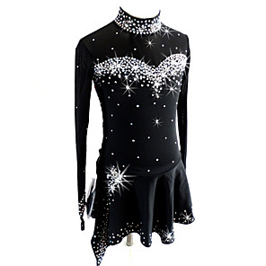 cheap Ice Skating Dresses , Pants & Jackets-Figure Skating Dress Women's Girls' Ice Skating Dress Black Spandex Competition Skating Wear Sequin Long Sleeve Figure Skating