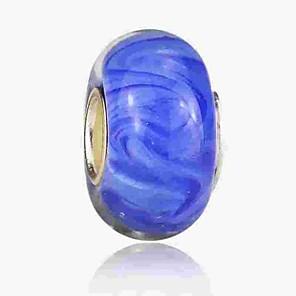 cheap Beads-DIY Jewelry 1 pcs Beads Coloured Glaze Alloy Royal Blue Round Bead 0.2 cm DIY Necklace Bracelet