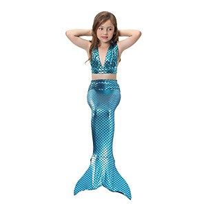 cheap Movie & TV Theme Costumes-Kids Girls' Active Cute Sports Beach Mermaid Tail The Little Mermaid Swimsuit with Mermaid Tails for Swimming Bikini Bathing Suit Set for Girls