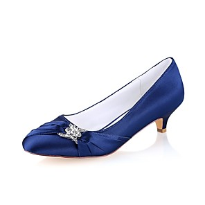 cheap Wedding Shoes-Women's Wedding Shoes Glitter Crystal Sequined Jeweled Kitten Heel Round Toe Crystal Elastic Fabric Basic Pump Spring / Fall Dark Blue / Party & Evening / EU42